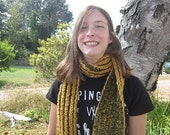 Gold and Green Double Sided Long Scarf