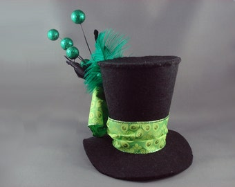 Absinthe - Black and Green Small Tall Top Hat Burlesque Costume Mini Top Hat Green Top Hat Absinthe Fairy Mad Hatter Wonderland SALE