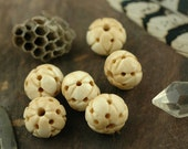 Dotted Diamond Carved Bone Beads, India / Brown, Cream 12x15mm, 6 pcs. / Natural Beads / Cow Bone Beads / Craft, Jewelry Making Supplies