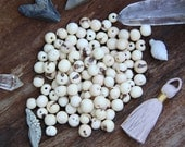 Cream : Real, Natural Acai Beads / South American Eco- Beads / 10mm, 100 beads / Off-White, Large Hole /Jewelry Making Supply