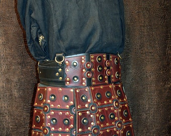 Armored War Skirt In Heavy 11-12 oz. Burgundy Dyed Veg-tan