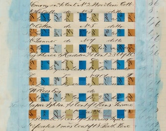 Page 101 Original mixed media art vintage book page paper weave blue brown gray beige abstract modern art squares grid pattern