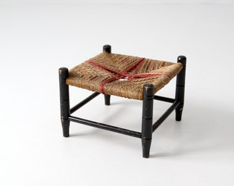 vintage rush seat stool, small woven riser
