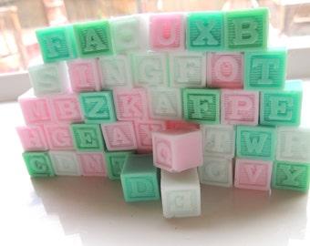 BUILDING BLOCKS SOAP Kids Soap- Full Set of the Alphabet, Blocks Soap Any Color, Alphabet Blocks, Fun Bath Time