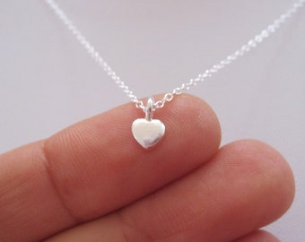 Sterling silver small polka DOT HEART charm necklace, delicate everyday necklace