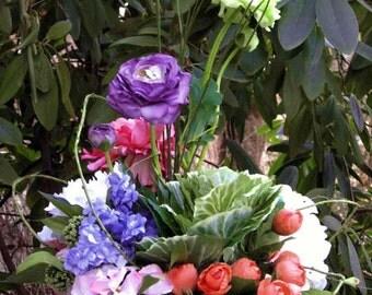Silk flower garden centerpiece, weddings, moss bark basket, year-round arrangement, looks like fresh flowers! dining room, hall table