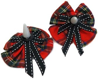 Spiked Tartan Rebel Punk Gothic School Girl Hair Bows Set Clips