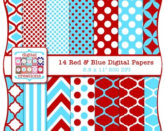 Red and Blue Digital Paper Pack - Polka Dots Quatrefoil Chevron Digital Papers INSTANT DOWNLOAD