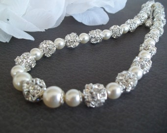 Bridal Necklace,Pearl Necklace,Backdrop Necklace,Pearls and Rhinestones,Wedding Necklace,Back Drop,Chunky Pearls,Ivory Pearl Necklace