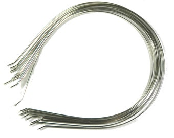 12 PCS Metal Headbands with bent end for best comfort Available in Silver Color or Black Color, 4mm or 6mm