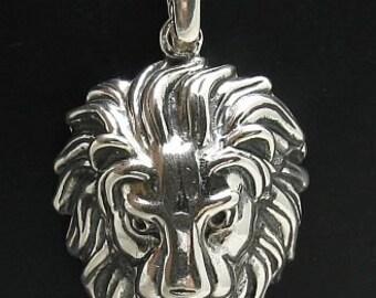 PE000665 Sterling silver pendant  solid 925 Huge Lion Head Heavy 3D