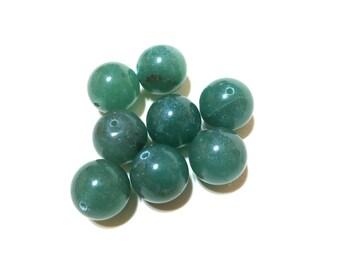 Round Green Aventurine Beads - Gemstones - Semi Precious - Round 14mm (8) - Adventurine