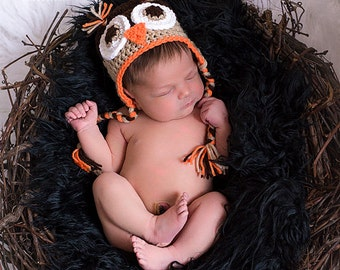 On Sale Today.........Fall Owl Beanie Hat with Earflaps and Braids..........newborn size