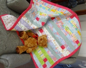 Flannel Strippy Scrap baby quilt, ready to ship
