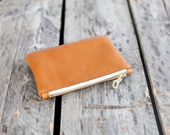 The MINI Pouch // leather zipper pouch //  COGNAC