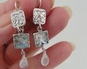 New Israel Handmade Art Roman Glass Silver Moonstone Earrings (as 376