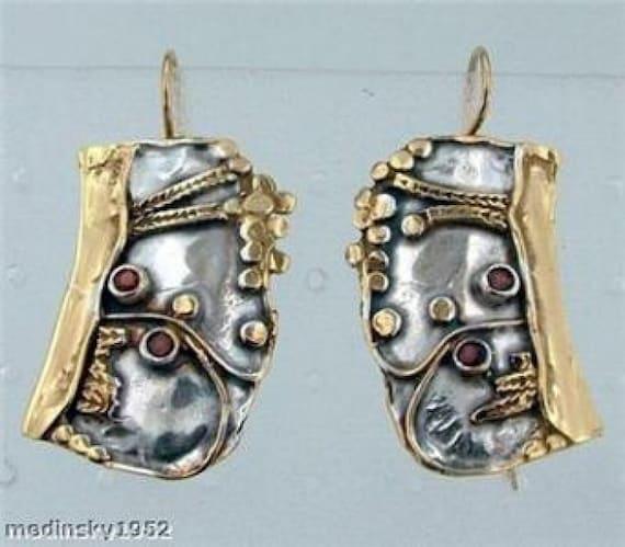 Hadar NEW Handmade Unique Silver Gold Large Garnet Earrings (b 72