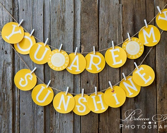 You Are My Sunshine Banner / Instant Download / Banners / Paper Banners / Photo Prop  / Wall Hanging / Kids Banners