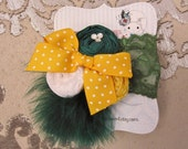 Green & Gold rosette feather headband/ hairclip