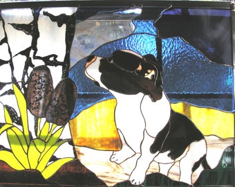 LT Stained glass Staffordshire Bull Terrier Pitbull Terrier dog window hanging panel