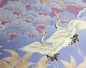 Cranes and Flowers Purple - Japanese traditional kimono design, cotton sateen, yardage, brand new fabric,