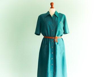 Vintage Silk Dress / Teal Green Emerald Turquoise / Shirtdress / Short Sleeve / Buttoned up down / Summer / Simple / Midi Long / medium