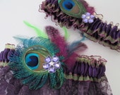 Purple & Lime Wedding Garter Set, Peacock Garters, PLUM Lace, Eggplant, Amethyst Purple Garter, Purple PROM Garters