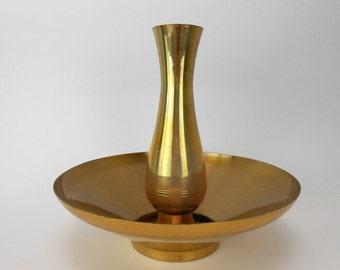 Vintage brass vase Vogue bowl of beauty floral arrangement candy dish fruit bowl Asian decor