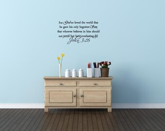 For God so loved the world that he gave his only begotten son John 3:16 religious decorations wall art sayings vinyl letters stickers decals