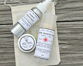Campers Survival Kit, Outdoors Gifts for him, Gifts For Dad, Insect repellent, bug spray, skin salve, muscle balm