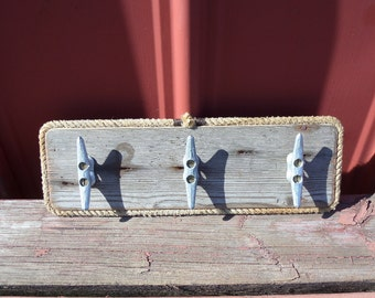 Coat Rack Reclaimed Distressed Wood Rope and Cleats 3 Hooks Nautical Beach Lake House