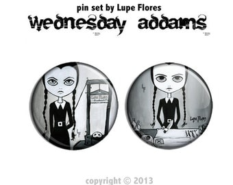 Wednesday Addams  Pin Set Art By Lupe Flores artwork