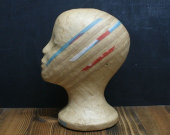 Natural Butchers Paper Mannequin Head Wig Hat  Display Vintage line pattern