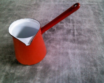 Vintage Red & White Enamelware Pour Pitcher w/ Long Handle