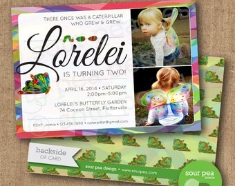 "Birthday Invitation - Custom DIY Printable Invitation - ""Hungry Little Butterfly"""