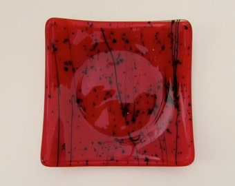 Red and Black Fused Glass Dish