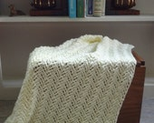 Lace Baby Afghan Ripple Look Cream Color - Ready to be Shipped
