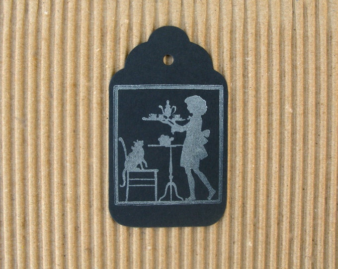 Chalkboard Gift Tags, Tea Time, Vintage Design Little Girl and Kitty Tea Party Silhouette Black Chalk board, Hand Stamped, set of 6