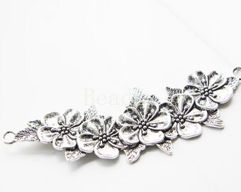 2 Pieces / Flowering Branch / Oxidized Silver Tone / Base Metal / Charm (Y15577//E111A)