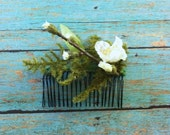 White Cherry Blossom Twig Moss Floral Comb