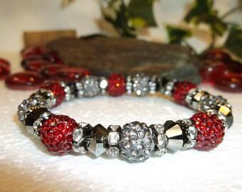 FREE SHIPPING! Gorgeous Swarovski Red And Silver Bracelet