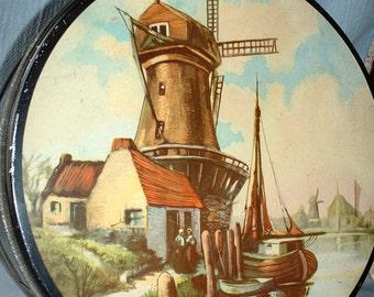 Vintage Tin, Dutch, Holland, Amsterdam, Windmill, Sea, Boat, Village, Home Decor