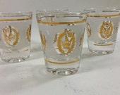 Midcentury Gold Crown Shot Glass Set / Shotglasses