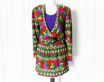 Vintage 80s Mini Dress M L Aztec Jewel Print Belted Upcycled Southwestern Purple Clearance Sale