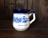 Vintage San Francisco Mug - Great for Coffee or Tea - Blue and White