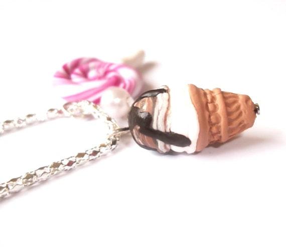 Ice cream necklace lollipop necklace ( ice cream pendant food necklace mini food jewelry food pendant miniature ice cream kawaii jewelry )