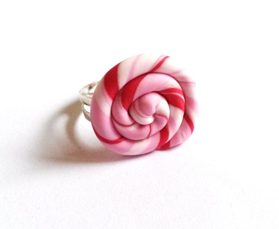 Pink Lollipop Ring ( polymer clay miniature food funky jewelry fimo cute jewelry gift for girl silver adjustable ring kawaii jewelry )