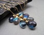 Blue Gray Gemstone Necklace, 14K Gold Filled, Labradorite, London Blue Topaz, Blue Quartz Gold Gemstone Necklace