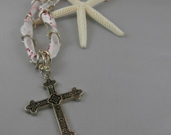Silver Chain and Woven Pink and Red Ribbon with Large Silver Cross Pendant