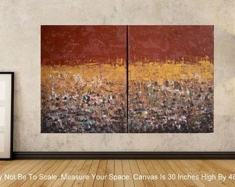 30x48 Multi Panel Browns Golds Teals Natural Abstract Painting Original by MyImaginationIsYours
